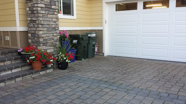 Paver driveway, steps and column